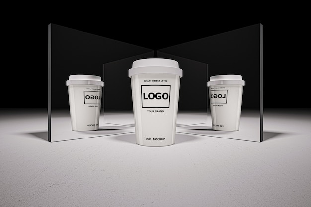 Mockup of 3d rendering of white coffee cup Premium Psd