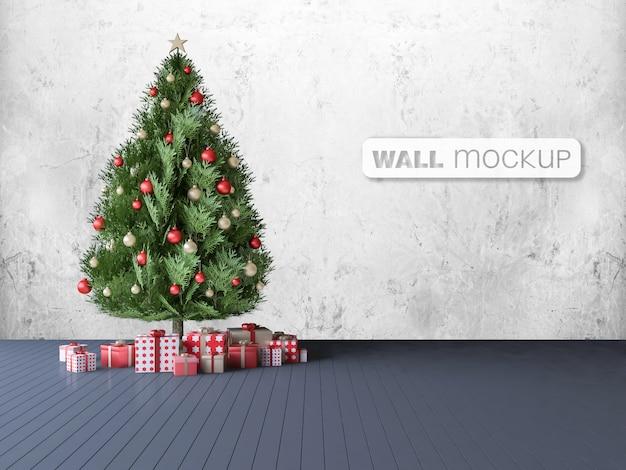 Mockup of 3ds rendering of christmas tree Premium Psd