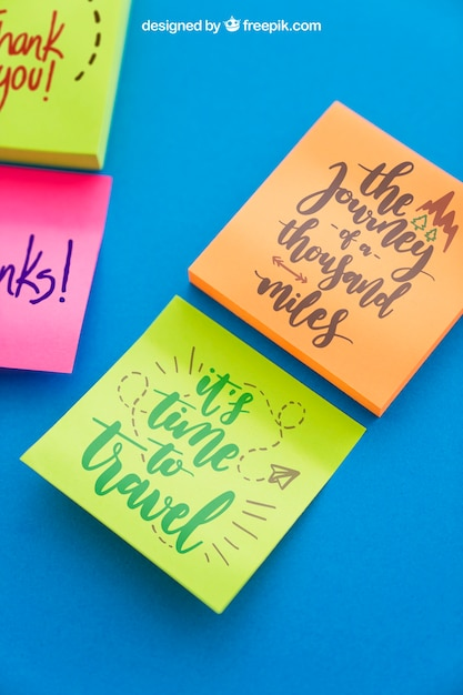 Mockup Of Adhesive Notes With Quotes Psd File Free Download