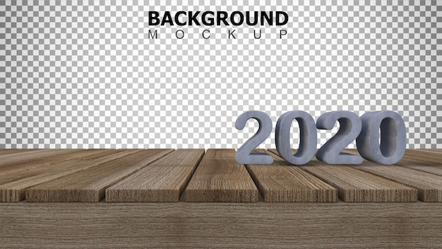 Mockup background for 3d rendering 2020 sign on wooden panel Premium Psd