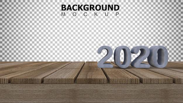 Макет фона для 3d-рендеринга 2020 знак на деревянной панели Premium Psd