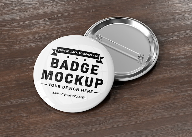 A mockup of a badge on wooden surface Premium Psd