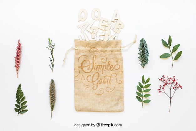 Mockup of bag different types of leaves Free Psd