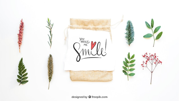 Mockup of bag and eight leaves Free Psd