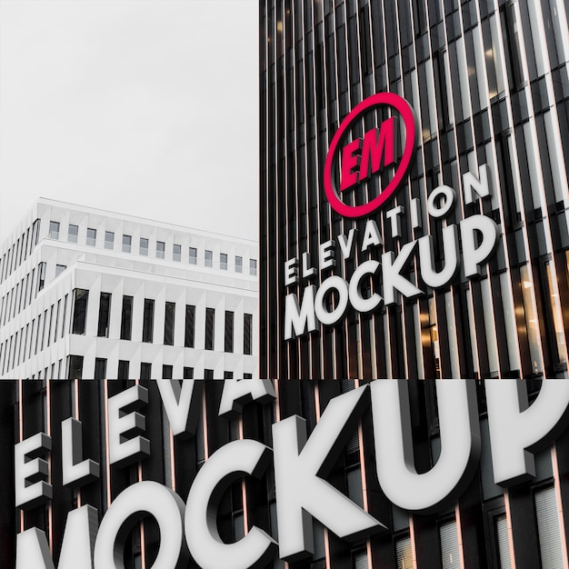 Mockup of big 3d logo neon on modern architecture building wall Premium Psd