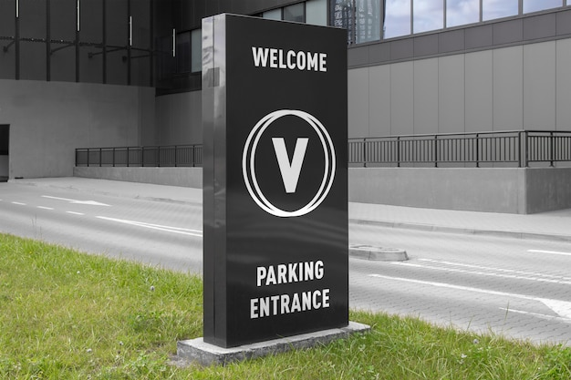 Mockup of black vertical advertising banner stand billboard sign at parking mall shopping centre entrance Premium Psd