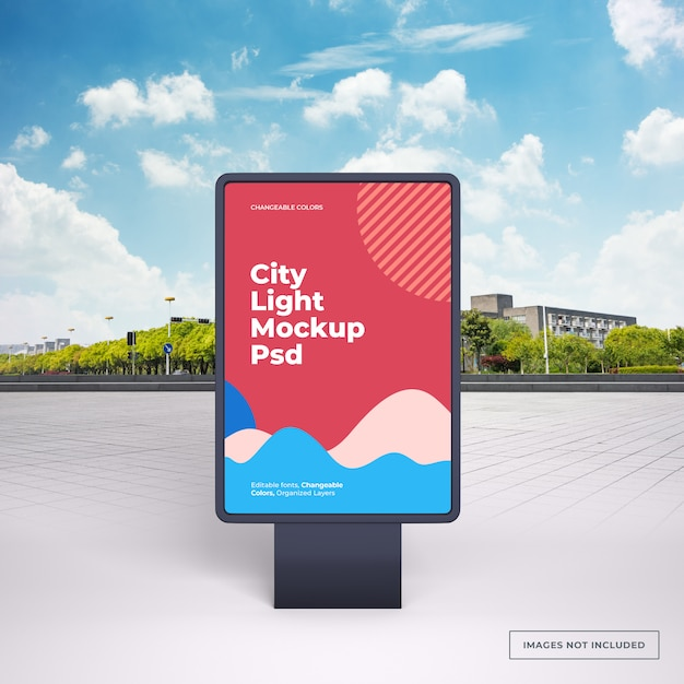 Mockup of black vertical outdoor advertising stand on city street Premium Psd