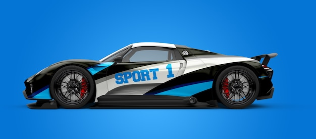 Mockup of a black and white sport car Premium Psd