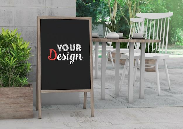 Mockup blank chalkboard frame for shop and restaurant design Premium Psd