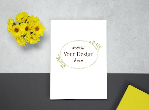 Mockup blank on grey black background with yellow flowers Premium Psd