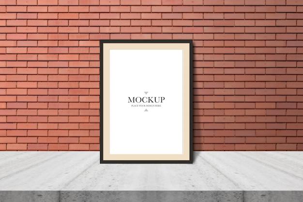 Mockup blank photo frame on brick wall Premium Psd