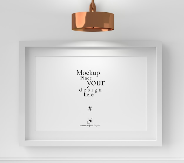 Mockup blank photo frame with shadow leaf on the wall, template psd. Premium Psd