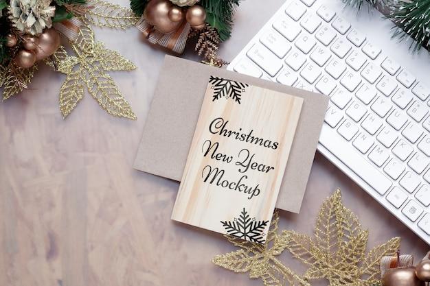 크리스마스 새 해 인사말 카드 모형 빈 나무 보드 프리미엄 PSD 파일