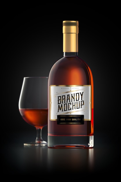 Mockup of a brandy glass bottle with label Free Psd