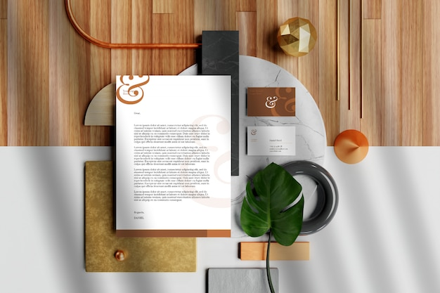 Mockup for business card with document and stationery Premium Psd