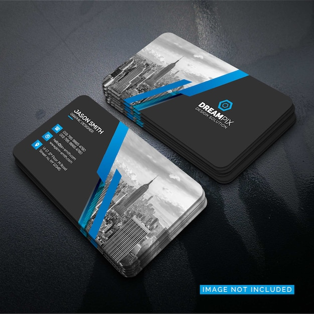 Mockup of business card with photo of city Free Psd