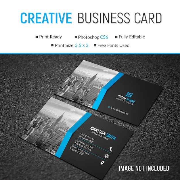 Mockup of business card with photo Premium Psd