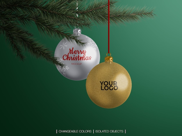 Mockup of christmas balls decoration on a christmas tree branch Premium Psd