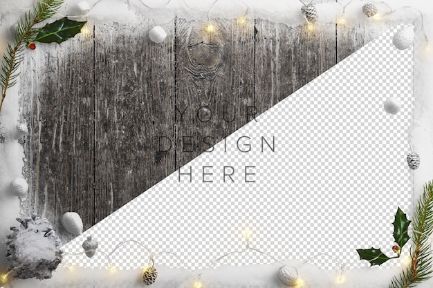 Mockup cold winter nature scene with snow, fairy lights, holly and pinecones Free Psd