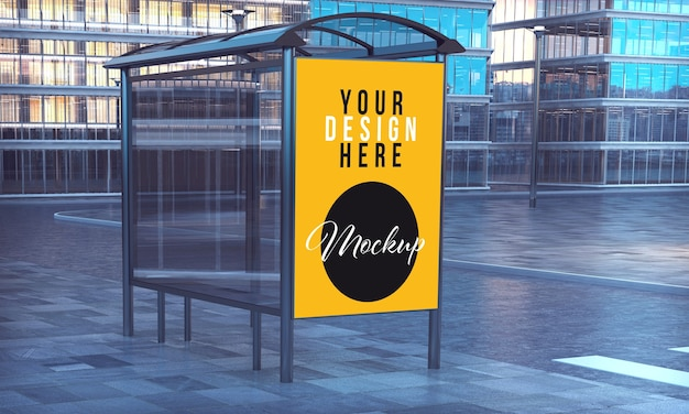 Mockup of commercial poster in bus stop of city downtown Premium Psd