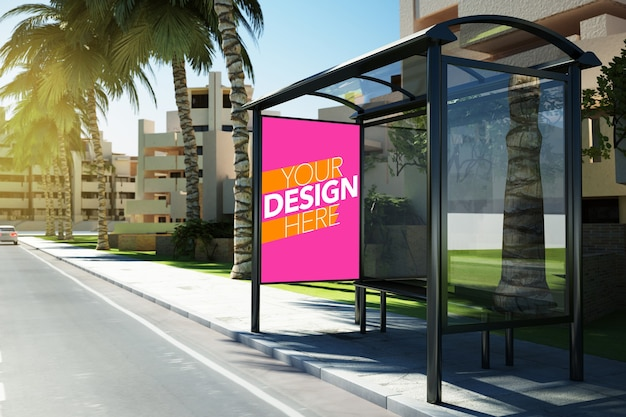 Mockup of commercial poster in bus stop of city Premium Psd