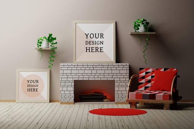 Mockup of country house room interior with a frame, fireplace with wooden logs, chair and plants Premium Psd