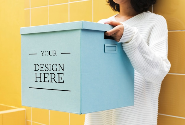 Mockup design space on paper box Free Psd