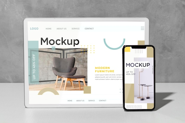 Mockup devices standing on the table Premium Psd