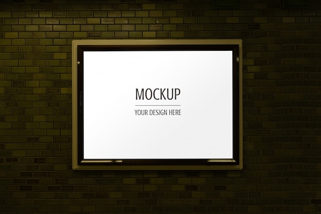 Mockup of display frame advertisement light box signs on brick wall Premium Psd