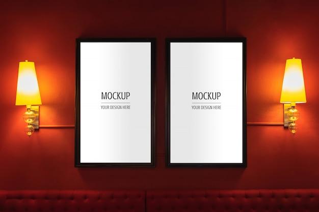 Mockup of display frame movie poster cinema light box Premium Psd