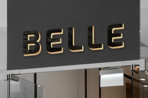 Mockup of exclusive elegant 3d black neon logo sign with backlight on dark shop storefront or entrance Premium Psd
