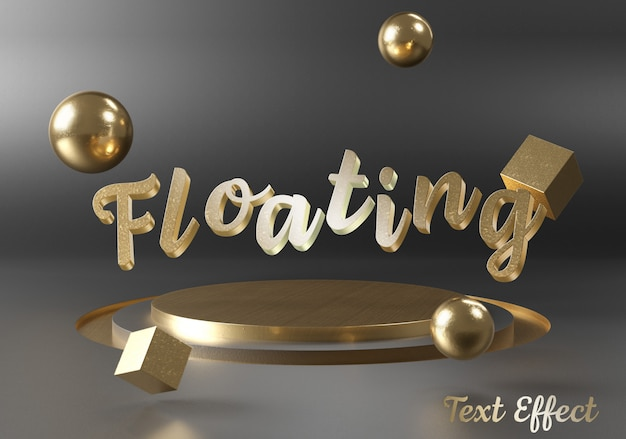 Mockup of floating text effect on stage podium Premium Psd
