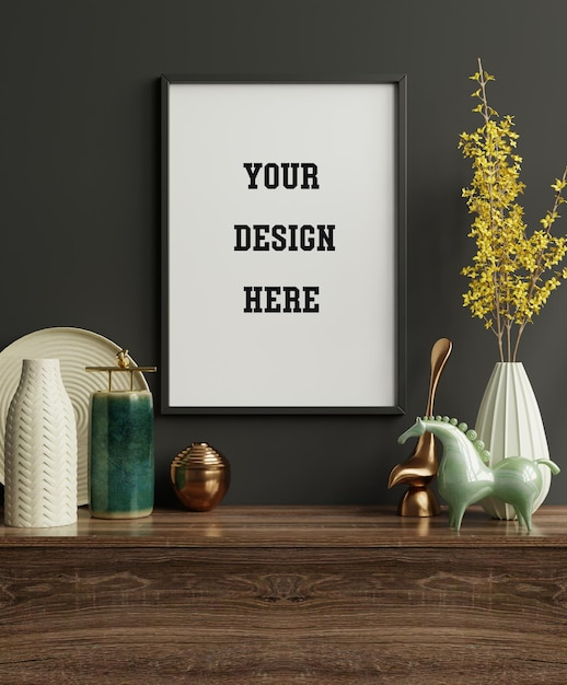Mockup frame on cabinet in living room interior on empty dark wall background,3d rendering Premium Psd