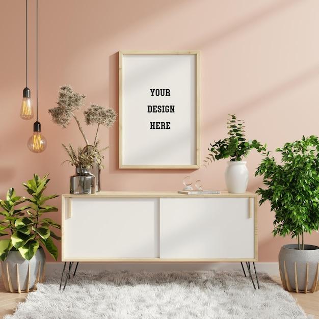 Mockup frame on cabinet in living room interior,scandinavian style,3d rendering Premium Psd
