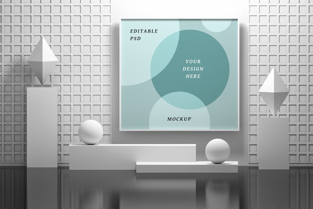 Mockup frame hanging on the wall in an abstract interior Premium Psd