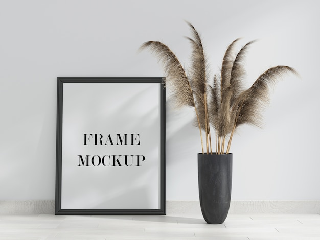 Mockup of frame leaning against wall Premium Psd