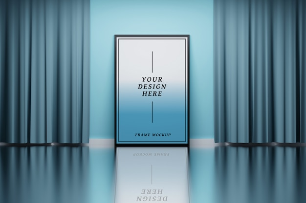 Mockup frame in a room with curtains Premium Psd