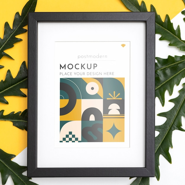 Mockup frame on wall with leaves Free Psd