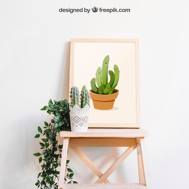 Mockup of frame with cactus Free Psd