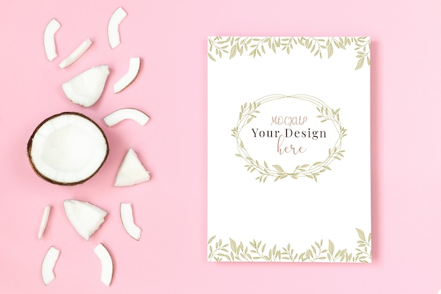 Mockup frame with coconut on pink background Premium Psd