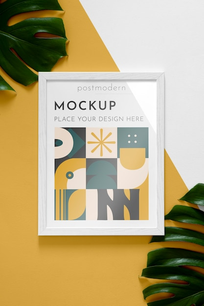 Mockup frame with leaves Free Psd