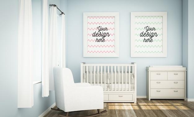 Mockup of frames in blue baby room in 3d rendering Premium Psd