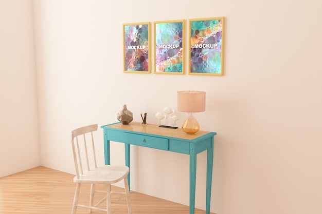 Mockup of frames above little table Free Psd