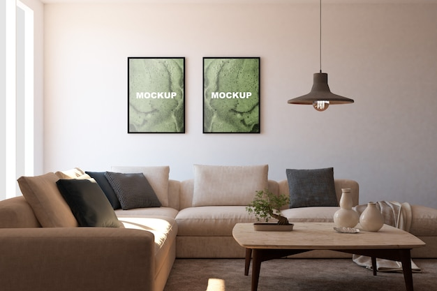 Mockup of frames in living room Free Psd