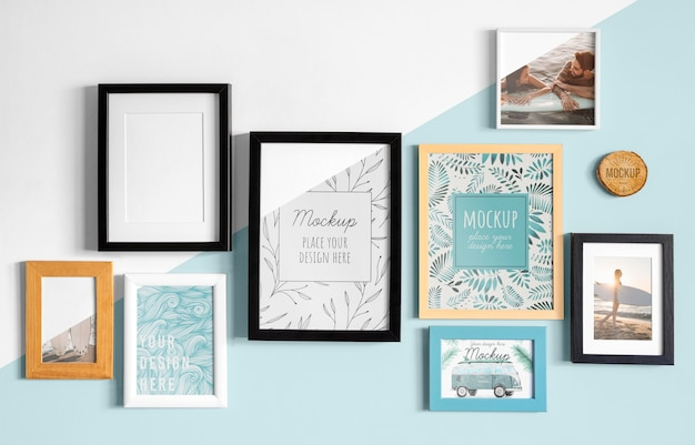 Mockup frames on wall Free Psd