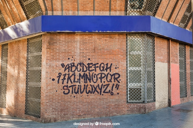 Mockup of graffiti on brick wall Free Psd