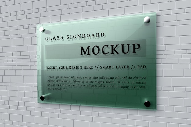 Mockup of green glass signboard pinned on wall Premium Psd