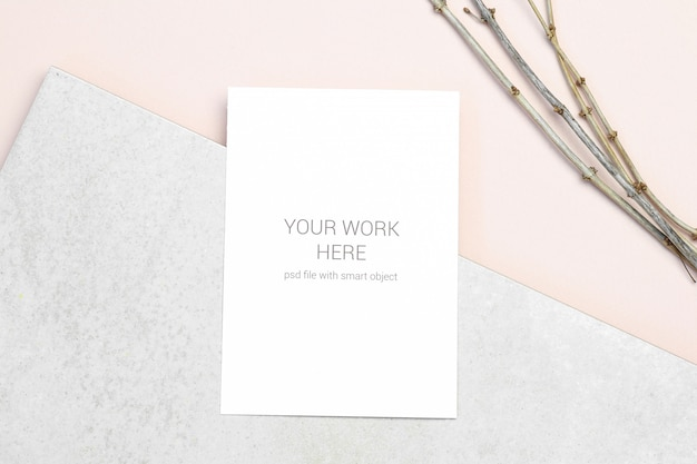 Mockup greeting card with branch Premium Psd
