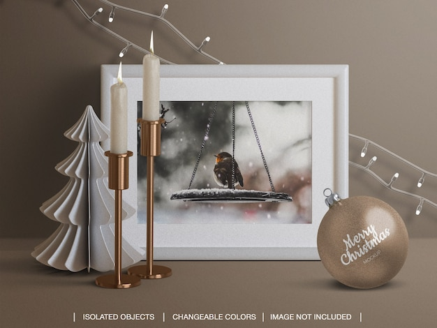 Mockup of holiday card frame and christmas ball with candles lights decoration Premium Psd