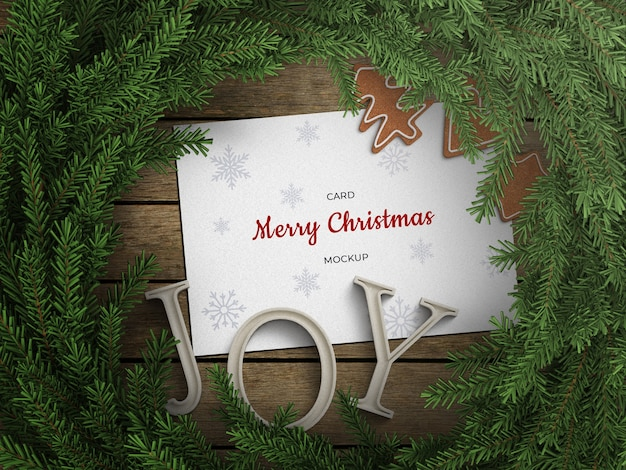 Mockup of holiday greeting card flyer with christmas wreath decoration Premium Psd